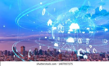 Concept de réseau de communication mondial. Ville intelligente. Internet des Objets.