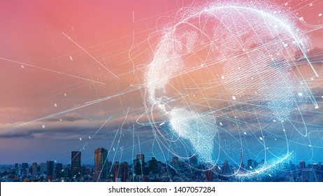 Global communication network concept. Smart city. Internet of Things.