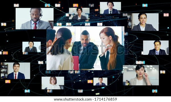 Global communication network concept. Video conference. Telemeeting.