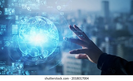 Global communication network concept. Worldwide business. IoT (Internet of Things) concept.