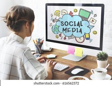 Global Communication Social Media Icon Concept
