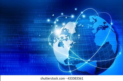 Global communication technology background. 3d illustration