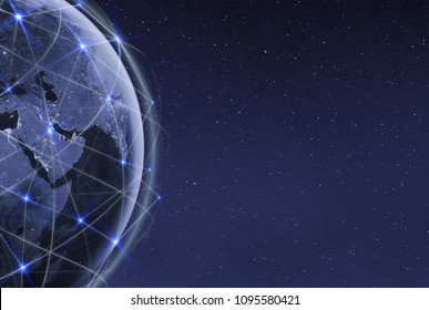 Global communication technology and telecommunication financial network around planet Earth. Blockchain and cryptocurrency concept with copyspace. IOT. Elements of this photo furnished by NASA.