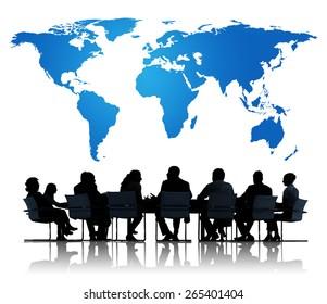Global Community Brainstorming Meeting Teamwork Concept