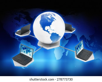 Global computer network on blue abstract background