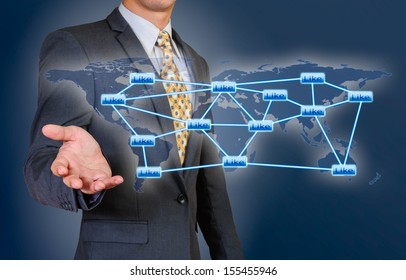 global connection  the hands of businessmen
