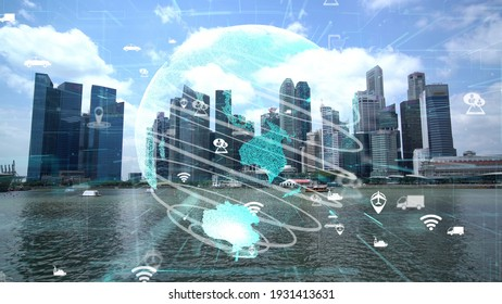 Global connection and the internet network modernization in smart city . Concept of future 5G wireless digital connecting and social media networking .