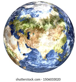 Global cooling on the Planet Earth of solar system isolated on white background. Europe and africa view, Climat concept. Elements of this image furnished by NASA.