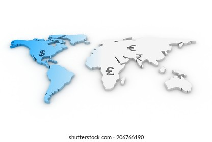 Global Currencies in world map