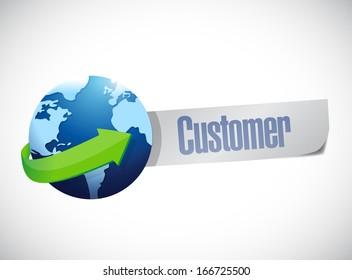 global customers sign illustration design over a world map background