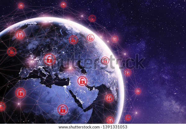 Global cyber attack around the world with planet Earth viewed from space and internet network communication under cyberattack with red icons, worlwide propagation of virus online