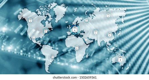 Global cyber security concept communication privacy data protection server room background