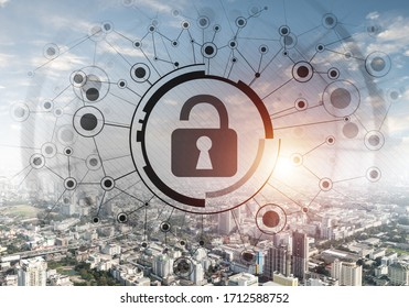 Global cybersecurity mixed media with virtual locking padlock on cityscape background. Data cryptography and internet surfing protection. Protection personal data and privacy from cyberattack.