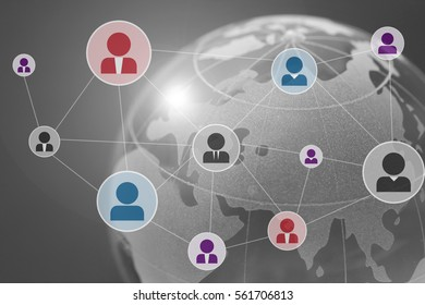 global digital connections with technology and social network