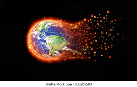 Global disaster. Earth burning after a global disaster. Elements Of This Image Furnished By Nasa.