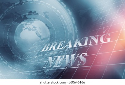 Global Economic Breaking News with Analytical Graph in Background, Earth Globe in Center Covered by Wave Lines and Directions. 3d Render, 3d Illustration