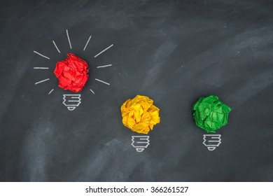 Global economic bright red warning, colorful Paper Ball on Blackboard and lightbulb  shape