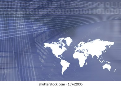 Global Economy Business Background in Dark Blue
