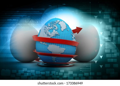 Global egg rounded with arrow