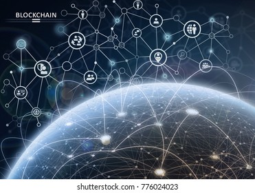 Global financial network. Blockchain encryption concept