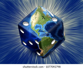 Global Gamble Earth in shape of dice with burst. 3D rendering