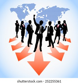 Global human resources business people work team from world map