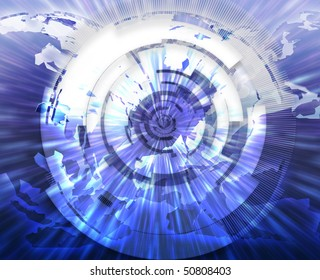 Global internet broadband data information communications technology concept illustration