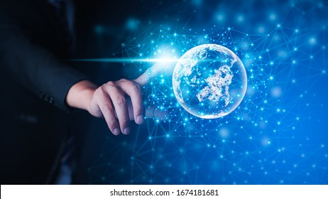Global Internet connection network high digital technology concepts