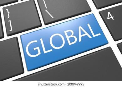 Global - keyboard 3d render illustration with word on blue key