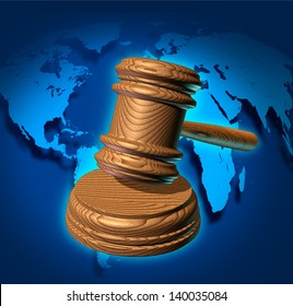 Global law and international business justice system with a judge gavel or mallet making a judgment based on government regulations with a world map in the background.