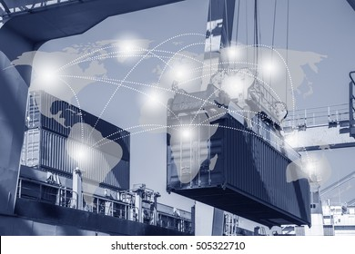 Global logistics network business connection concept with industrial container cargo freight ship and Logistic Import Export background
