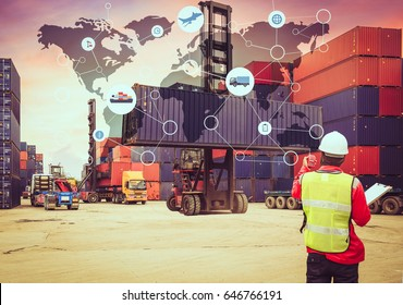 Global logistics network transportation, Map global logistics partnership connection of Container Cargo freight ship for Logistics Import Export background