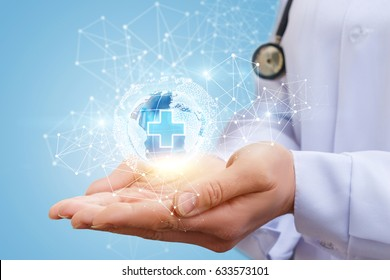 Global medical network in the hands of the doctor.