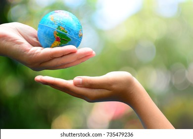 global model send to child hand fir concept save the world