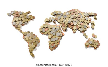 Global money map. World map made of money coins isolated on white background