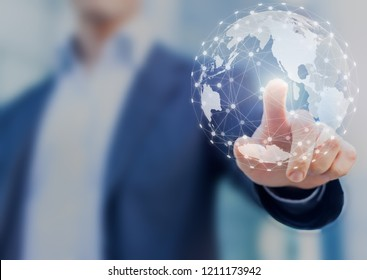 Global network communication with international connections for business around 3d world map, financial exchange, Internet of Things (IoT), blockchain technology, worldwide forex, abstract concept