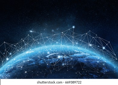 Global network concept. 3D rendering elements of this image furnished by NASA - Shutterstock ID 669389722