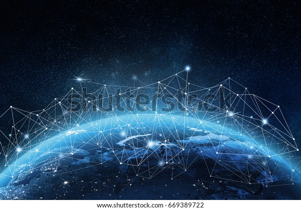 Global network concept. 3D rendering elements of this image furnished by NASA