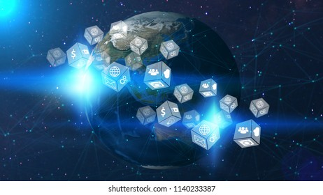 Global network concept. image from space furnished by NASA