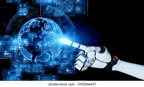 Global network concept. Robot hand pointing hologram of planet earth. 3D rendering.