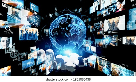 Global network concept. Robot hand holding hologram of planet earth and screens. 3D rendering.