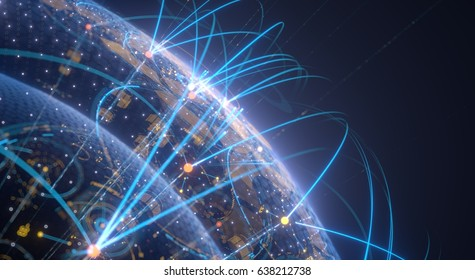 Global network concept technology of internet and connect illustration