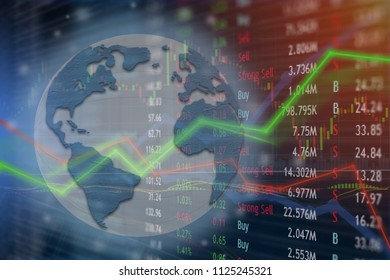 Global network connected for internet investing and trading online.  Worldwide markets signs and symbols.  Monitoring uptrend and growth.