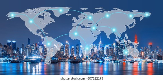 Global Network and Connection Technology Concept of Skyline of New York City,Skyscrapers, downtown, USA
