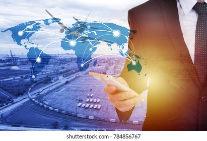 Global network coverage world map with businessman ,Industrial Container Cargo freight ship at habor for Logistic Import Export background (Elements of this image furnished by NASA)