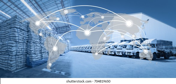 Global network coverage world map,Truck with goods distribution warehouse for Logistic Import Export at yard (Elements of this image furnished by NASA)