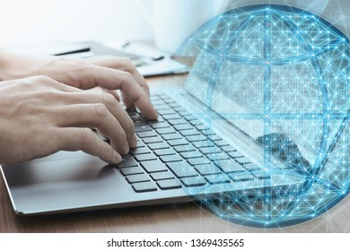 Global network data concept. Businessman analyzing big data.