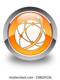 Global network icon glossy orange round button