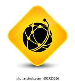 Global network icon isolated on elegant yellow diamond button abstract illustration