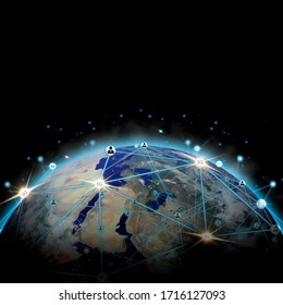 Global network modern creative telecommunication and internet connection. Concept of 5G wireless digital connection and internet of things future., image are furnished by NASA